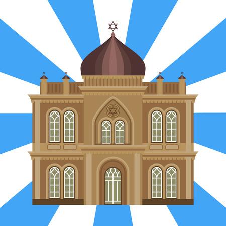 Cathédrale église juive temple traditionnel construction repère illustration vectorielle de tourisme Banque d'images - 79863241