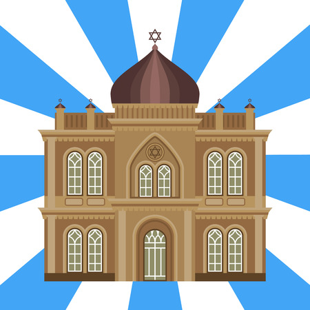Cathedral jewish church temple traditional building landmark tourism vector illustration