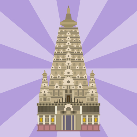 Cathedral chinese church temple traditional building landmark tourism vector illustration