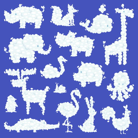 Animal clouds silhouette pattern vector illustration cute farm and wild animals