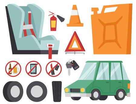 Auto transport motorist icons symbols and equipment symbols service car driver tools high detailed vector illustration set. Prohibitive signs transmission garage change vehicle automobile mechanic. Illustration