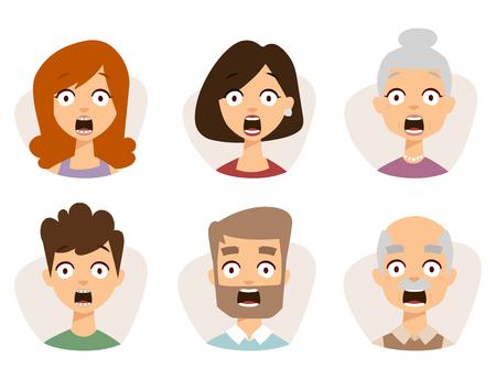 Vector set mooie emoticons gezicht van mensen vrezen schok verrassing avatars. Set van cartoon menselijk hoofd persoon karakter verschillende seksen verdriet verward depressie.