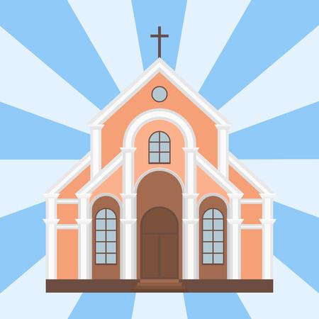 Catedral católica templo de la iglesia tradicional edificio hito turismo vector ilustración Foto de archivo - 79968921