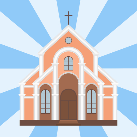 Cathedral catholic church temple traditional building landmark tourism vector illustration