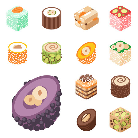 Collection of east delicious dessert isolated on white sweets food confectionery homemade assortment vector illustration. Chocolate cake tasty bakery homemade decoration turkish assortment. Illustration