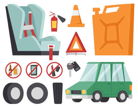 Auto transport motorist icons symbols and equipment symbols service car driver tools high detailed vector illustration set. Prohibitive signs transmission garage change vehicle automobile mechanic. Çizim