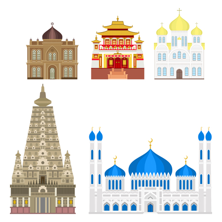 Cathedral and church infographic traditional temple building landmark tourism vector illustration. World religions history place historic monument. Çizim