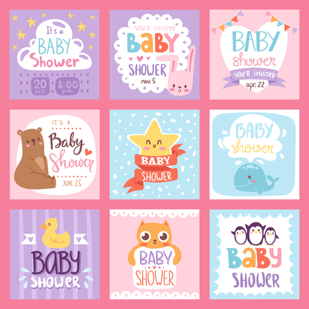 Baby shower design with cute woodland animals born arrival vector graphic. Party template vintage cute birth baby shower invitation. Welcome greeting baby shower invitation decoration celebration. Imagens - 79990213