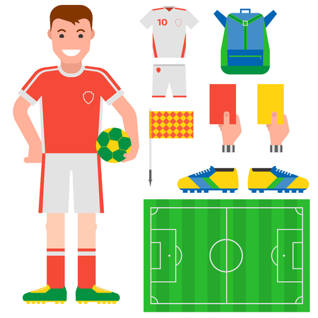 Football soccer icons player trophy competition game score win play flat design sport vector illustration Stock Photo