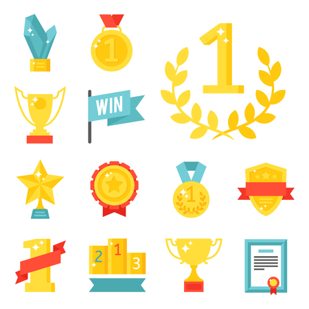Vector trophy champion cup flat icon winner gold award prize sport success best win golden illustration. Illustration
