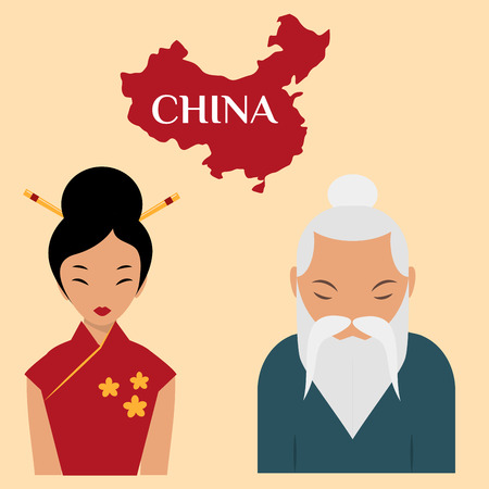Chinese sensei old man asian elderly portrait woman person retired grandfather vector illustration