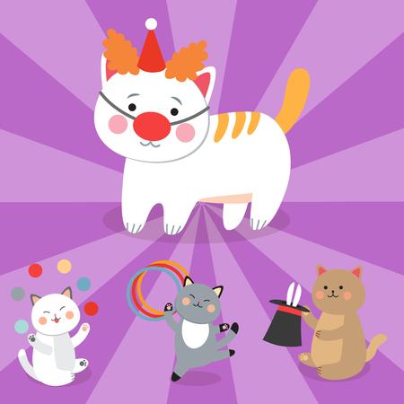 サーカス猫ベクトル少し国内の漫画動物哺乳類の再生と子供たちの陽気なイラスト
