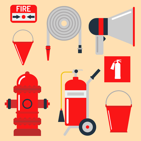 hazard: Fire safety equipment emergency tools firefighter safe danger accident protection vector illustration. Illustration