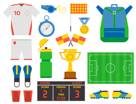 Football soccer icons player trophy competition game score win play flat design sport vector illustration Ilustrace