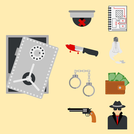 Crime icons protection law justice sign security police gun offence felony transgression flat illustration Illustration