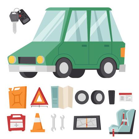 Auto transport motorist icon symbol vehicle equipment service car driver tools  illustration.