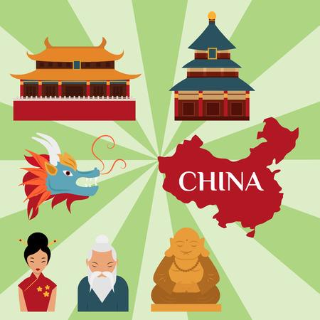 Cinese asiatico oriental decorazione sightseeing festival oro antico tradizionale cultura illustrazione vettoriale. Archivio Fotografico - 80113337