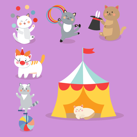 Circus cats cheerful illustration for kids with little domestic cartoon animals playing mammal