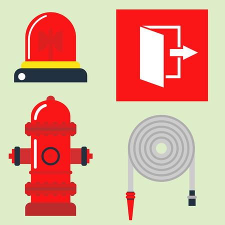 Fire safety equipment emergency tools firefighter safe danger accident protection illustration. Illustration