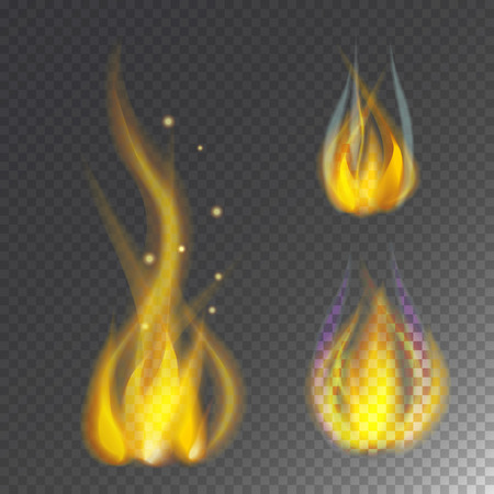 Fire flame hot burn icon warm danger and cooking yellow bonfire light blazing campfire.