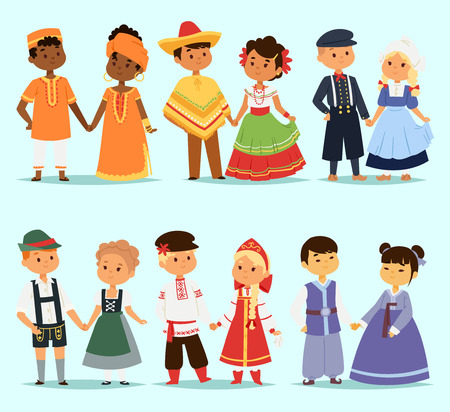 Lttle kids children couples character of world dress girls and boys in different traditional national costumes and cute nationality dress illustration. Imagens - 80090157