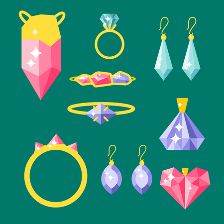 Elementi di gioielli di vettore oro eleganza gemstones accessori preziosi illustrazione di moda