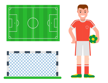 soccer goal: Football soccer icons player trophy competition game score win play flat design sport vector illustration Illustration