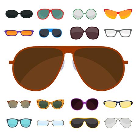 ファッションは、サングラス アクセサリー太陽めがねプラスチック フレーム モダンな眼鏡ベクトル図を設定します。