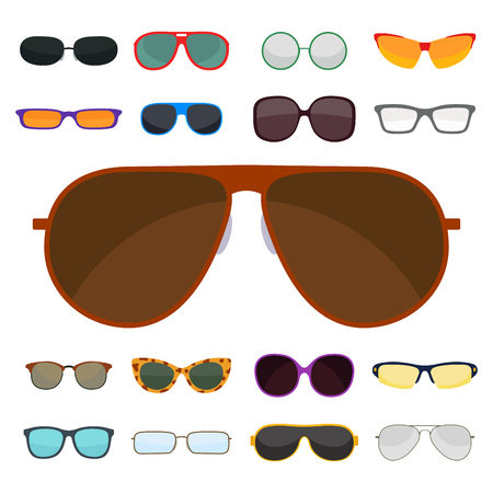 Fashion set sunglasses accessory sun spectacles plastic frame modern eyeglasses vector illustration. Иллюстрация