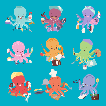Octopus mollusk ocean coral reef animal character different pose like human and cartoon funny graphic marine life underwater tentacle vector illustration. Ilustrace