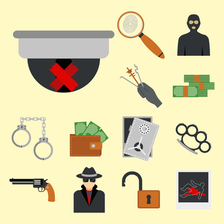 enormous: Crime icons protection law justice sign security police gun offence felony transgression flat vector illustration