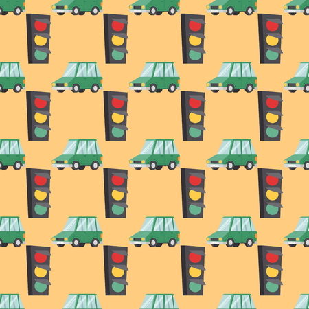 Flat green car vehicle type design sedan style vector generic classic seamless pattern auto illustration.
