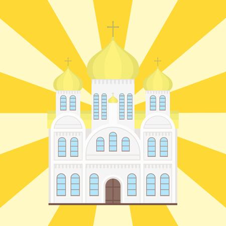 GLise catholique église temple traditionnel toit du bâtiment vecteur illustration Banque d'images - 80196474