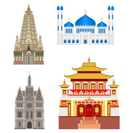 伝統的なカトリック教会聖堂建築ランドマーク観光ベクトル図  イラスト・ベクター素材