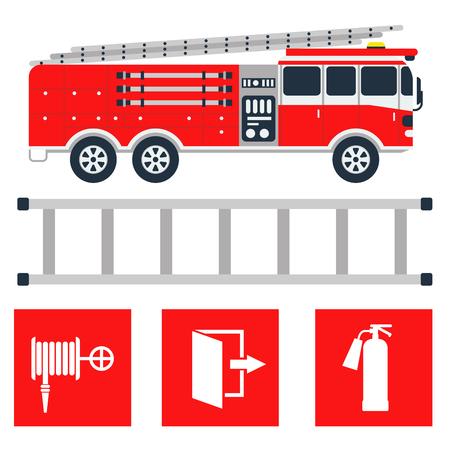 Quipement de sécurité incendie outils d'urgence pompier sécurité danger protection contre les accidents illustration vectorielle. Banque d'images - 80196477