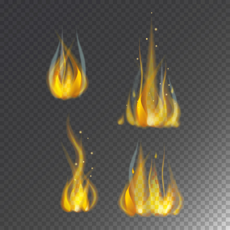 fiery: Fire flame hot burn vector icon warm danger and cooking yellow bonfire light blazing campfire.