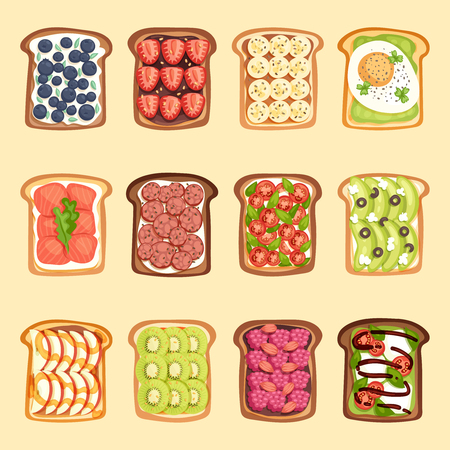 Slices of sandwich bread and butter toast with butter jamflat cartoon style vector illustration. Çizim