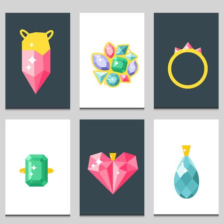 Vector jewelry items gold cards elegance gemstones precious accessories fashion illustration Illustration
