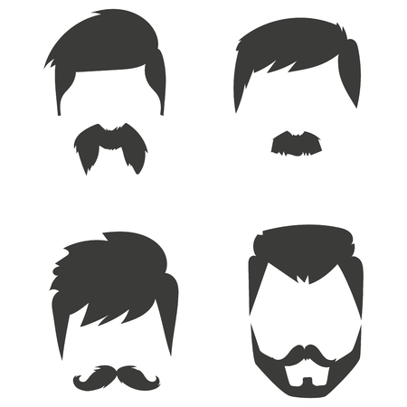 whiskers: Vector set of hipster retro hair style mustache vintage old shave male facial beard haircut isolated illustration. Curly face collection fashion barber hairstyle design. Illustration