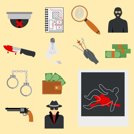 Crime icons protection law justice sign security police gun offence felony transgression flat vector illustration Banco de Imagens - 80237345