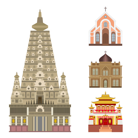 Cathedral and church infographic traditional temple building landmark tourism vector illustration. World religions history place historic monument. Stok Fotoğraf - 80237292
