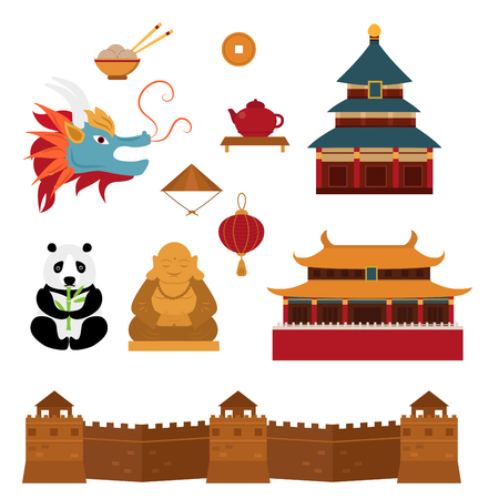 Chinese objects asian oriental decoration and objects sightseeing festival gold ancient traditional culture lanterns vector illustration. Celebration antique vintage china asian symbols. Illustration