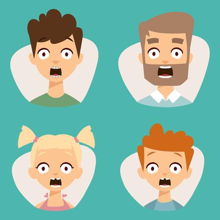 Vector set mooie emoticons gezicht van mensen vrezen schok verrassing avatars. Set van cartoon menselijk hoofd persoon karakter verschillende seksen verdriet verward depressie. Stockfoto - 80237294