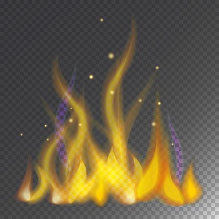 熱い炎を燃やすベクトル アイコン暖かい危険と調理の黄色焚き火。光の燃えるキャンプファイヤー点火デザインと詳細暖炉情熱透明なサインです。  イラスト・ベクター素材