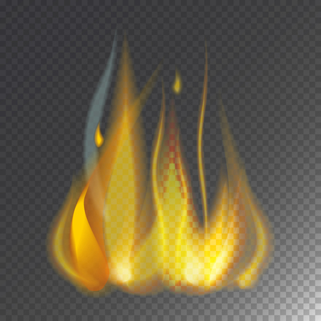 Fire flame hot burn vector icon warm danger and cooking yellow bonfire. Light blazing campfire ignite design and detail fireplace passion transparent sign. Illustration