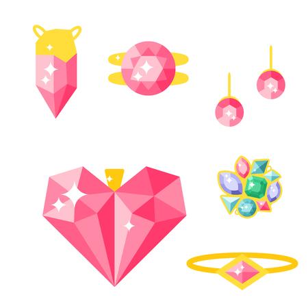 Set van vector sieraden items goud en edelstenen kostbare accessoires modeartikelen vector illustratie. Schoonheid hanger symbool tiara ketting parel kralen ring oorbellen armband broche.