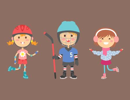 Young kids sportsmens future roller skates gymnastics children sport players vector illustration.