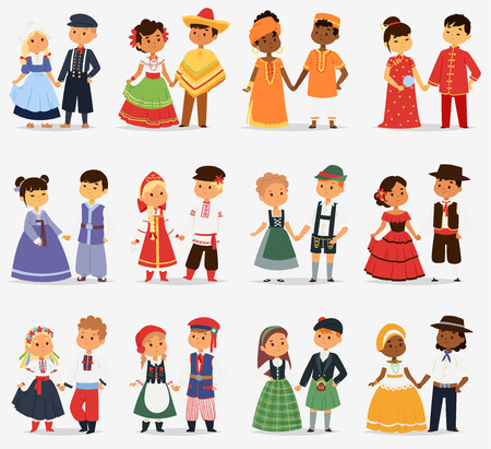 Lttle kids children couples character of world dress girls and boys in different traditional national costumes and cute nationality dress vector illustration. Stock Vector - 80237394
