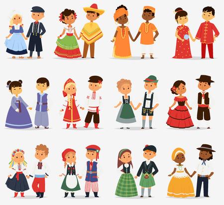 Małe dzieci dzieci pary postaci świata ubierają dziewczęta i chłopców w różnych tradycyjnych strojach ludowych i ilustracji wektorowych ładny strój narodowościowy. Ilustracje wektorowe