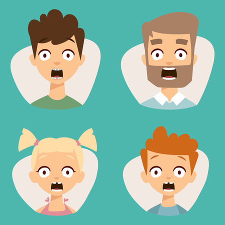 sobbing: Vector set beautiful emoticons face of people fear shock surprise avatars characters illustration